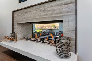 Custom see through gas fireplace